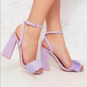 Lilac Faux Fur Strappy Heels